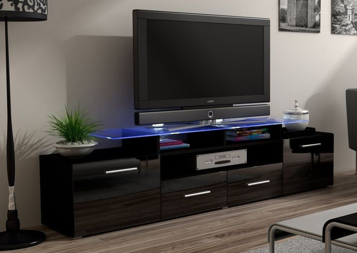 """Evora two door two draws Black Tv Cabinet suitable for screen up to 65"""" with glass shelves"""
