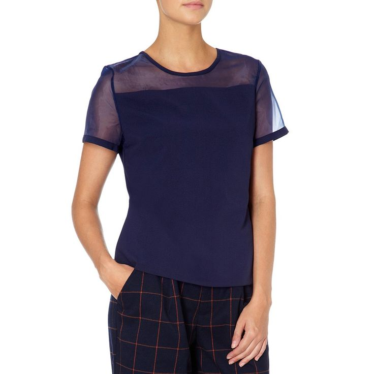 Cosimo Sheer Panel Top Navy | Fever London