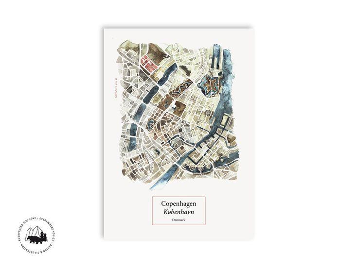Digitaldruck - Copenhagen Map   A3 Poster - ein Designerstück von everywhereyougo bei DaWanda