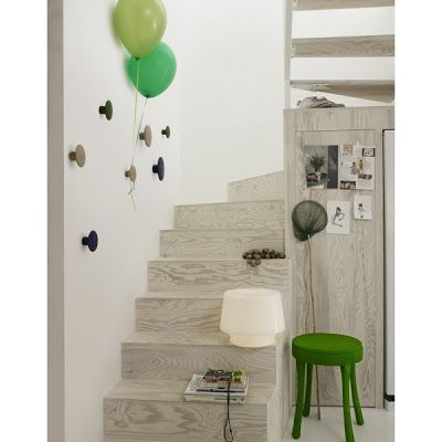 Whitewashed plywood stairs. Could do that for a focal wall if I don't want the yellow color of plywood.