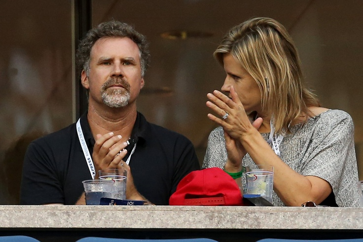 Actor Will Ferrell and his wife Viveca Paulin watch the women's singles semifinal match between Serena Williams and Sara Errani. - Getty Images