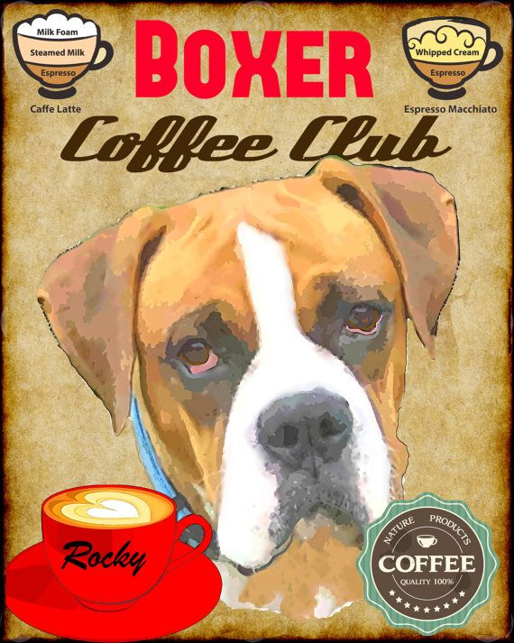 Boxer Dog Coffee Club Art Poster Print YOUR DOGS by SwiftArtStudio, $23.00