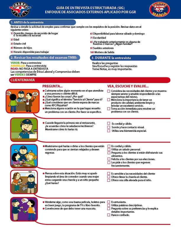 Guía de Entrevista Estructurada. Para: Medios Integrales en Comunicación. Cliente: Yum! Restaurants.