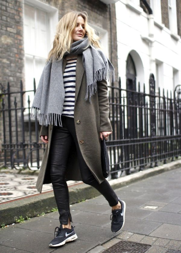 Grey scarf - kaki coat - striped sweater - leather legging - sneakers
