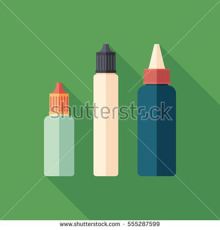 Plastic e-liquid bottles for vaping flat square icon with long shadows. #vape #vaping #flaticons #vectoricons #flatdesign