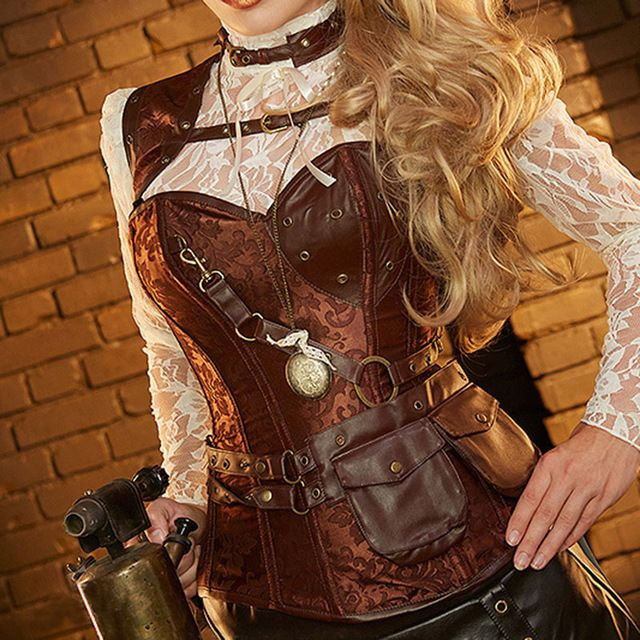 Brown Corselet Corset Gothic Clothing Corpetes E Espartilhos Sexy Burlesque Costume Steampunk Corsets And Bustiers Plus Size 6XL