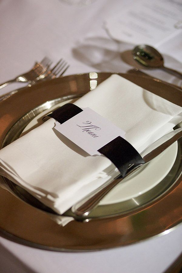 Black and white name cards, with ribbon tying in with the black tie theme (photography: janib.co.za)