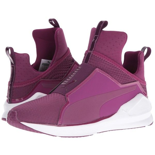 PUMA Fierce Quilted (Magenta Purple/Puma White) Women's Shoes (1.206.135 IDR) ❤ liked on Polyvore featuring shoes, grip shoes, lock shoes, pull on shoes, puma shoes and mesh shoes