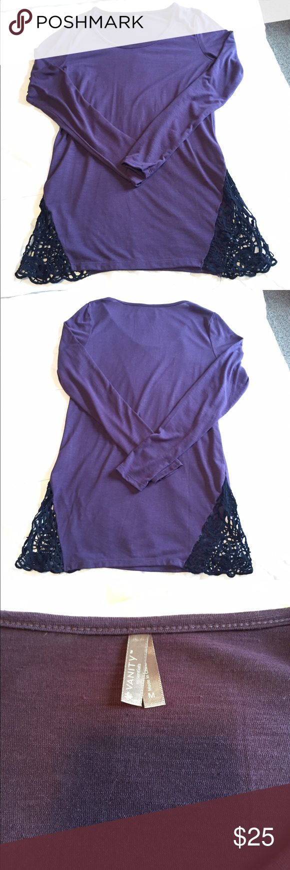 """NWOT Vanity Purple top NWOT Purple top with black crocheted details on both sides.  Long Sleeves.  Scoop neckline.  30"""" long, 17 1/2"""" across chest from armpit to armpit.   friendly home.  No trades. Vanity Tops Tees - Long Sleeve"""