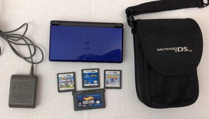 Nintendo DS Lite Cobalt Blue Black Game Console Bundle 4 Games Case Stylus #Nintendo