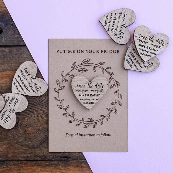 Wooden Save the Date Magnet Announce your wedding date with our beautiful rustic wooden Save the Date magnets. These wedding fridge magnets are personalised with your Christian names and wedding date and come with the option of their own presentation card and envelope, ready for