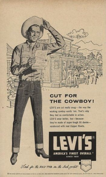 """Levi's """"Cut for the Cowboy!"""" Advertising, 1956"""