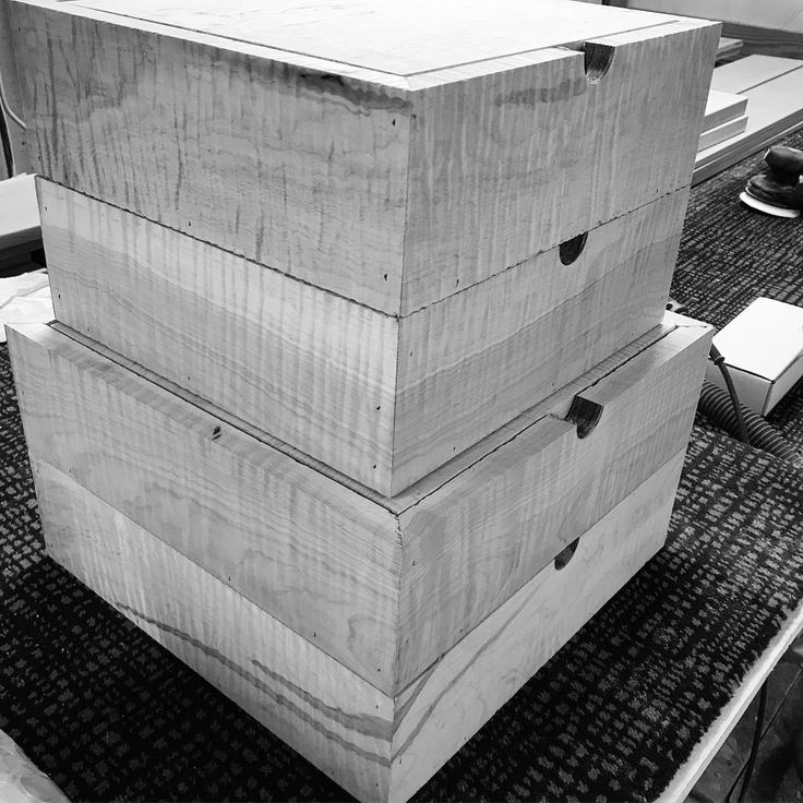 Four wedding album boxes in curly maple, note the continuous grain. 😍 Will be sanding and finishing in the next couple days, using my new #Festool sander (in the background.)