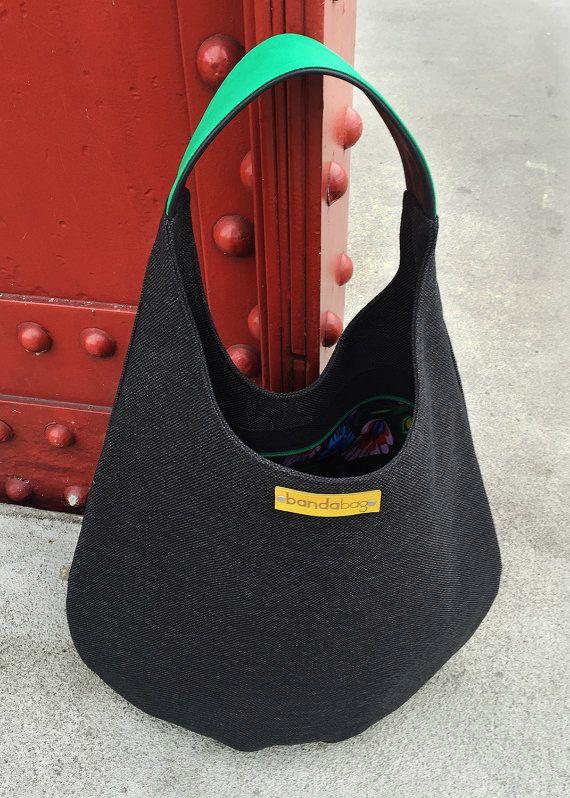 Black packable hobo bag shoulder bag comfortable bag by bandabag