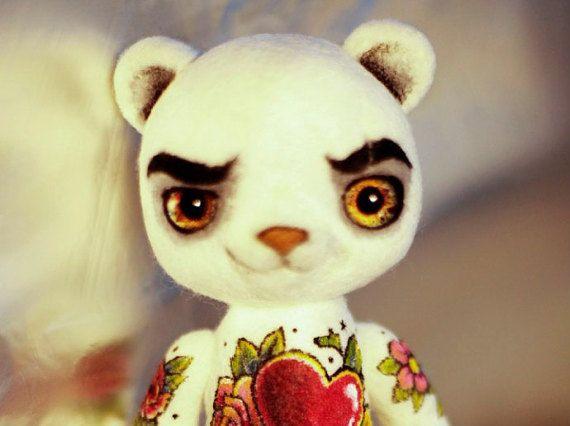 Felted toy Grumpy bear by LelilioShop