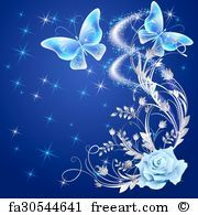 Free art print of Transparent butterflies with rose . Transparent flying butterflies with silver ornament, rose and glowing firework   FreeArt   fa30544641