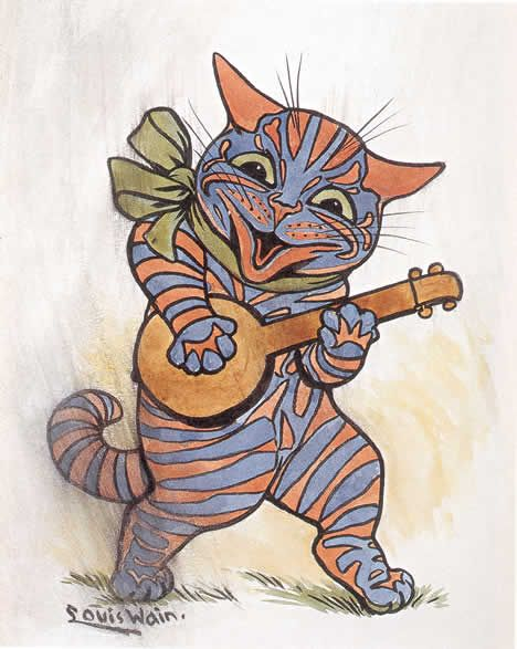 Cat playing the lute