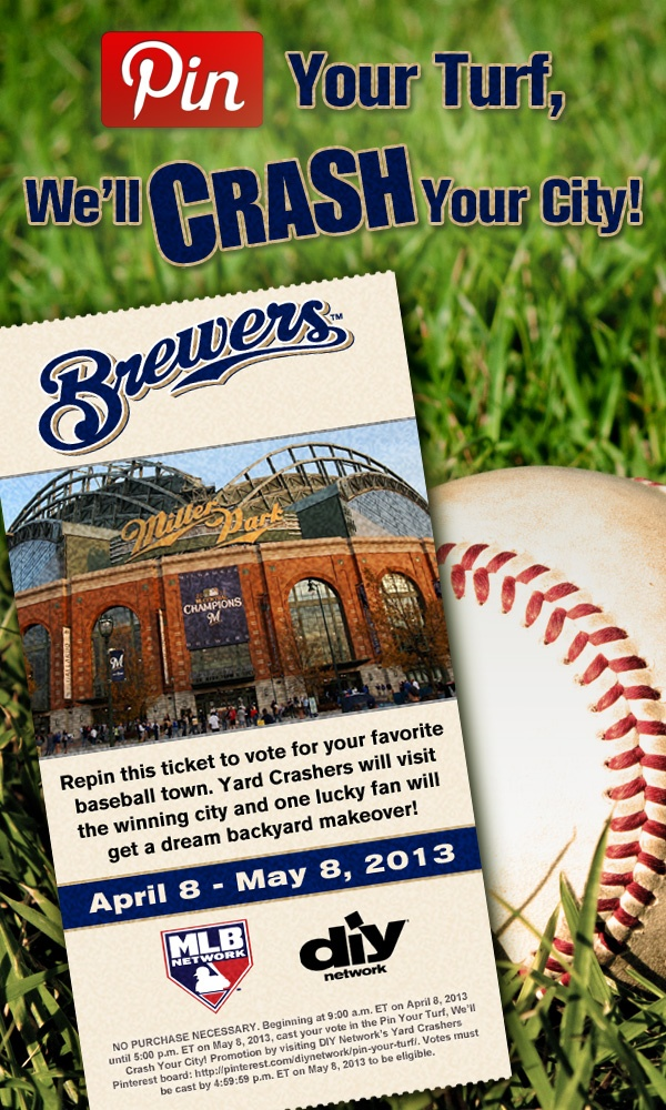 Crash Milwaukee! Repin this #MilwaukeeBrewers ticket. The city with the most repins gets crashed!