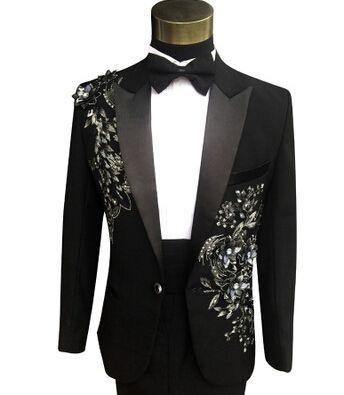 Latest Coat Pant Designs Black Applique Rhinestone Costume Men Suit Formal  Slim Fit Prom Party Custom Blazer 2 Piece Terno Q11  Menssuits 2aad991139f7