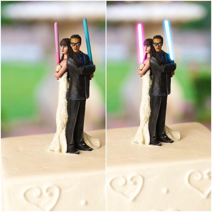 #StarWars Wedding Cake Topper with the lightsabers lit up!!!  www.hoffmanweddings.com