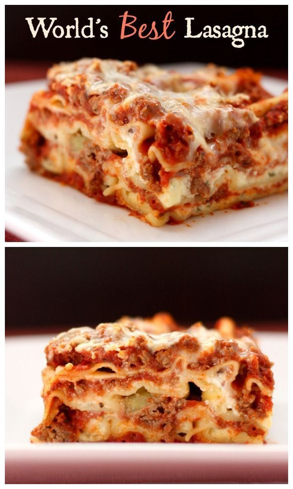 World's Best Lasagna recipe. The Italian comfort food classic. So delicious, and all you need is a salad and bread to have a complete dinner meal the whole family will love! (Over 15,000 repins!)