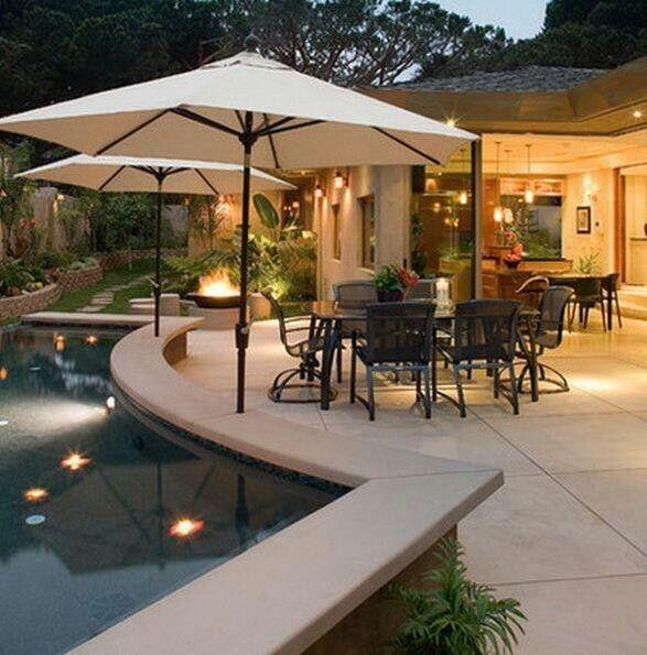 Mansion Pools Close Up: Built In Umbrella Holes Near Pool