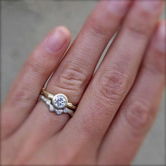 Diamond Twig Engagement Ring in Recycled Gold by kristincoffin, etsy