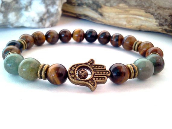 Protection Hamsa bracelet, Hamsa bracelet, Tiger Eye and Jasper bracelet, Gemstone Hamsa bracelet, Unisex bracelet, Good Luck bracelet on Etsy, $16.50