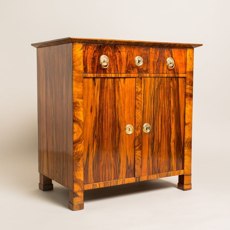 Beautiful Biedermeier Trumeau Commode with amazing walnut veneer and great brass cast. Check out the other great storage items at:  http://masterpiece-antiques.com/chests-cabinets-3