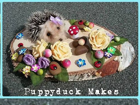 Miniature Needle felt Hedgehog Woodland Scene 'Hog Garden' 22cm by PuppyduckMakes on Etsy