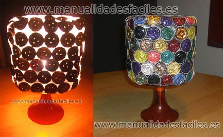 lampara con cápsulas recicladas de nespresso