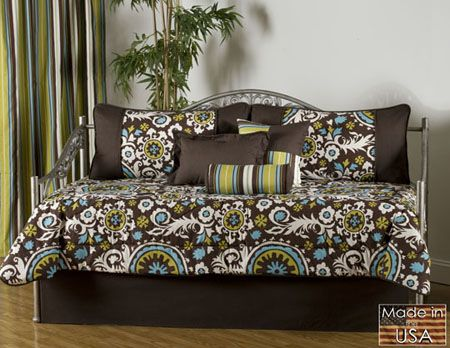 cosmos daybed bedding features a popular color pattern of turquoise and brown with white and lime