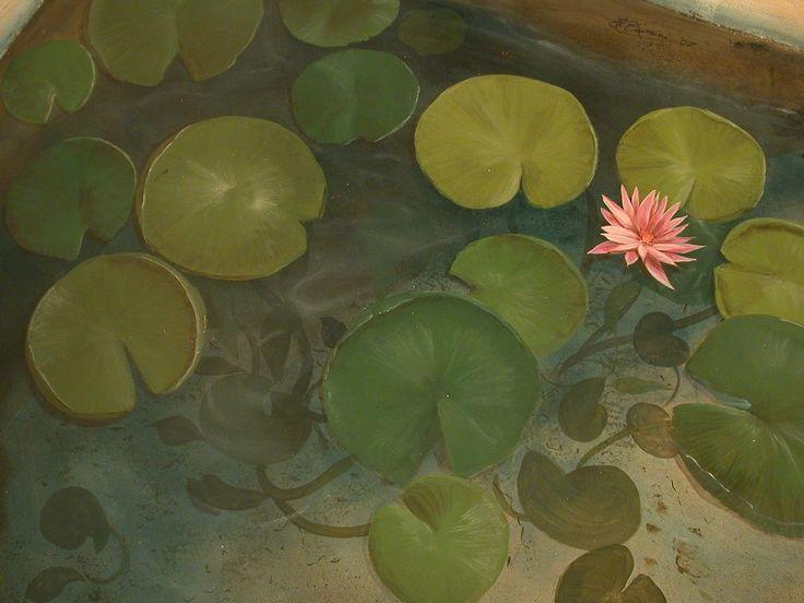 Fantastico Trompe l'Oeil dipinto sul pavimento. Handmade paintings on the floor
