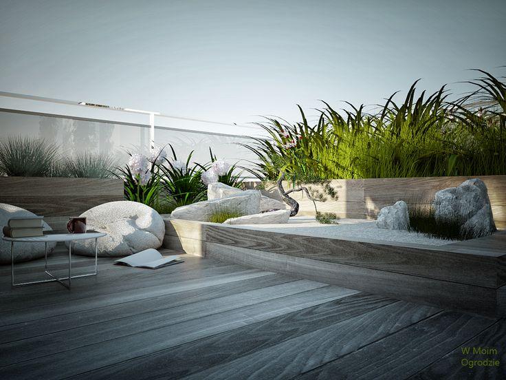 rooftop terrace by W Moim Ogrodzie modern terrace, modern garden design,  minimalist garden