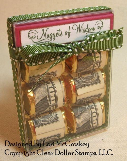 "Awesome gift idea! This gift is for a graduate, the tag says ""Nuggets of Wisdom"". You could do so many fun things with this idea!"