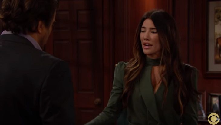 The Bold and the Beautiful (B&B) spoilers for Thursday July 20 reveal after Ridge Forrester (Thorsten Kaye) confesses to his stolen kisses with his father's wife, Quinn Fuller Forrester (Rena Sofer); Steffy Forrester Spencer (Jacqueline MacInnes Wood) angrily confronts Quinn about cheating on he