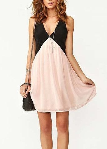 Women Pink and Black Color Blocking V Neck Dress – teeteecee - fashion in style