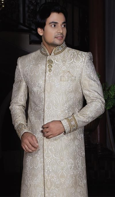 G3 fashions Champion Gold Embroidered Brocade Sherwani.  Product Code : G3-MSH10000148 Price : INR RS 13273
