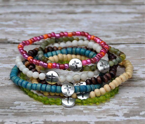 Add On Bracelets with Pewter Cross Charm / Beaded Bracelets via Etsy