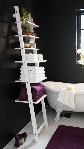 Bring style & function to your bathroom with an IKEA HJÄLMAREN ladder wall shelf you get a different look and the possibility of storing big things like towels on the lower shelves and small decorative items on the top.