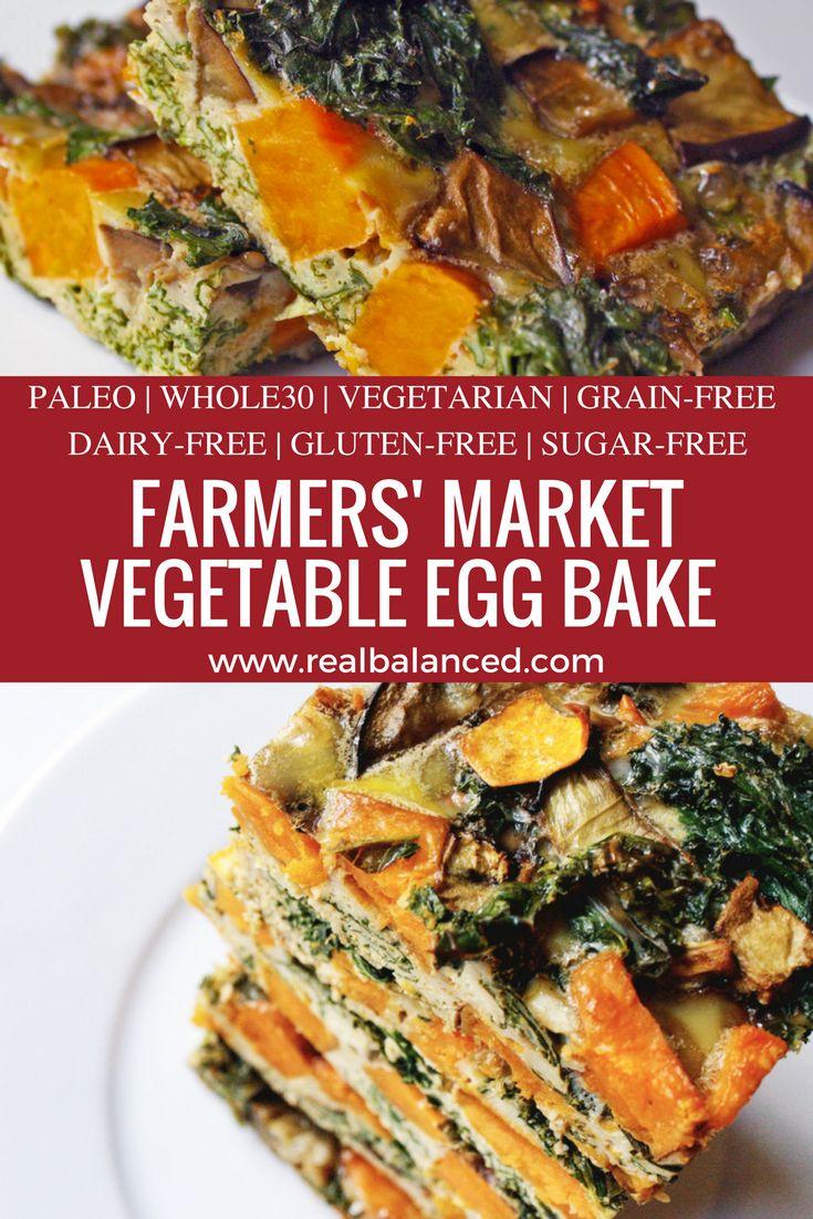 Farmers' Market Vegetable Egg Bake: paleo, Whole30 compliant, vegetarian, grain-free, dairy-free, gluten-free, and sugar-free!