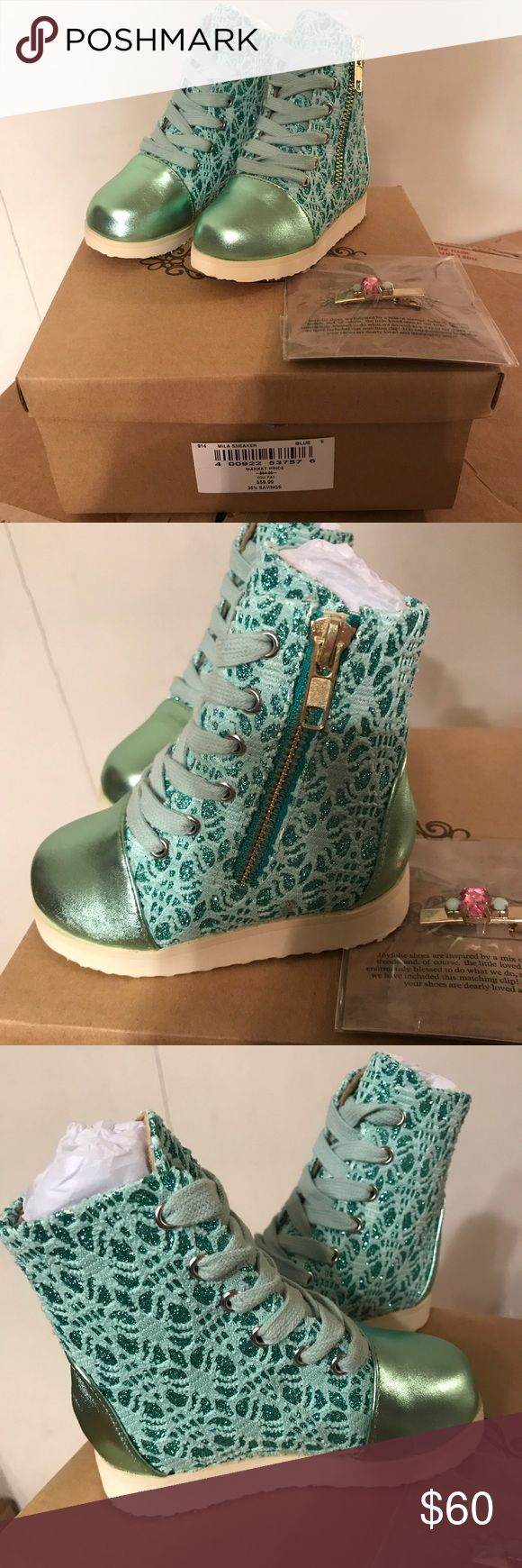 "Joyfolie Girl's Mila High-Top Sneakers Sz 6 Designed mesh upper with shiny cap toe lends a cute look Shaft, 3.75"" Leg circumference, 8"" Cap toe Glitter/leather/textile upper Zipper in side Textile lining Ethylene vinyl acetate sole Imported Joyfolie Shoes Sneakers"