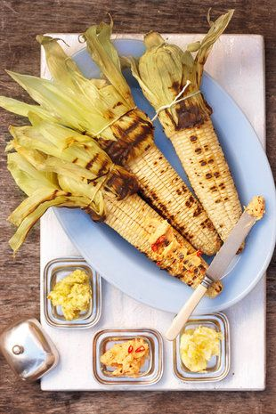 Gebraaide mielies met gegeurde botter | SARIE | Corn on the cob with flavoured butter for the braai