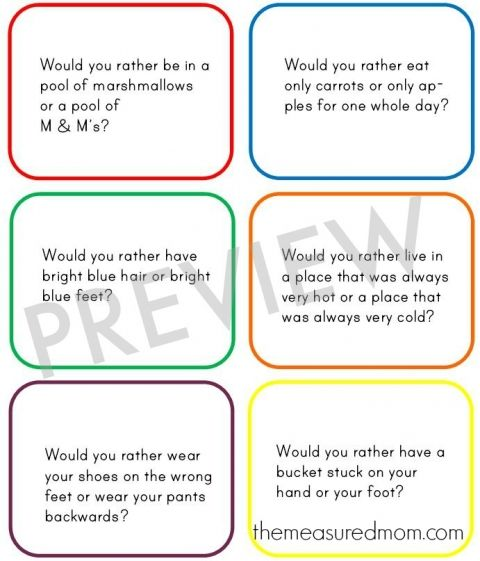 Looking for fun would you rather questions for kids? These kept us busy on a long car trip! Use them at the table or for classroom transition times too.