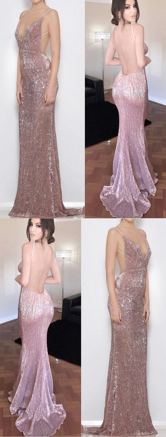Custom Made Sheath/Column Evening Prom Dresses Long Lilac Dresses With Backless Sequin Sweep Train Delightful Evening Dresses M1386#prom #promdress #promdresses #longpromdress #promgowns #promgown #2018style #newfashion #newstyles #2018newprom #eveninggown #mermaid #backless #sheath #sequin #lilac #vneck