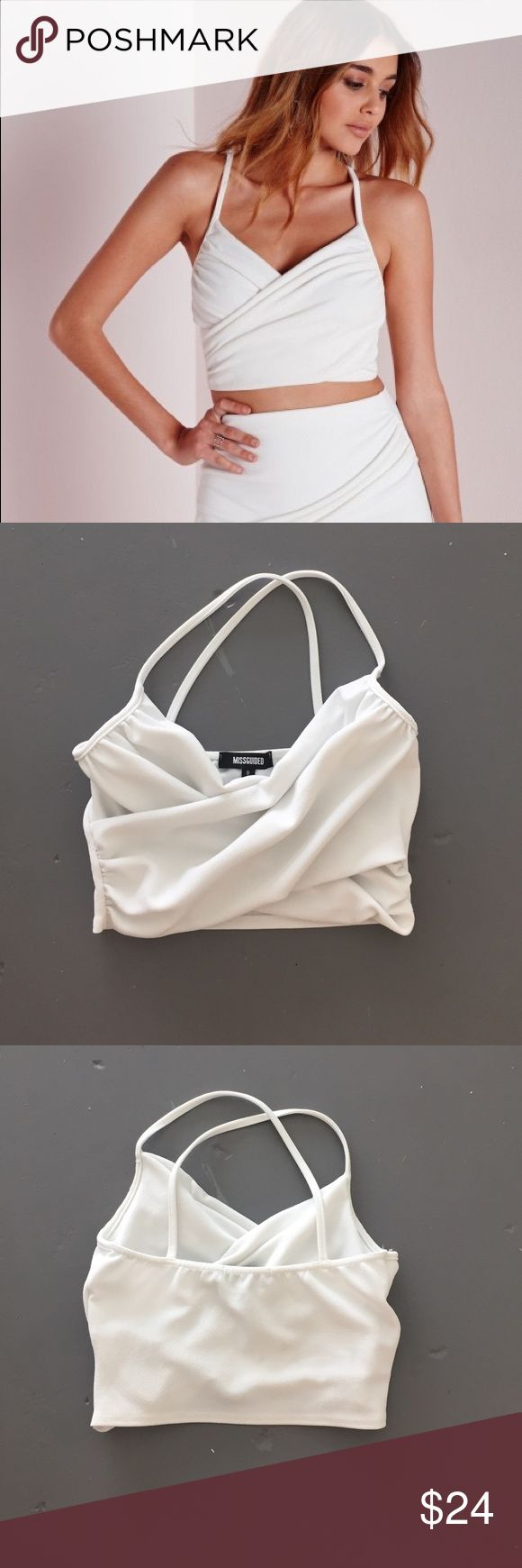 Missguided Crop Top Missguided wrap over Crop Top. Crepe material. Size 4. White. Missguided Tops Crop Tops