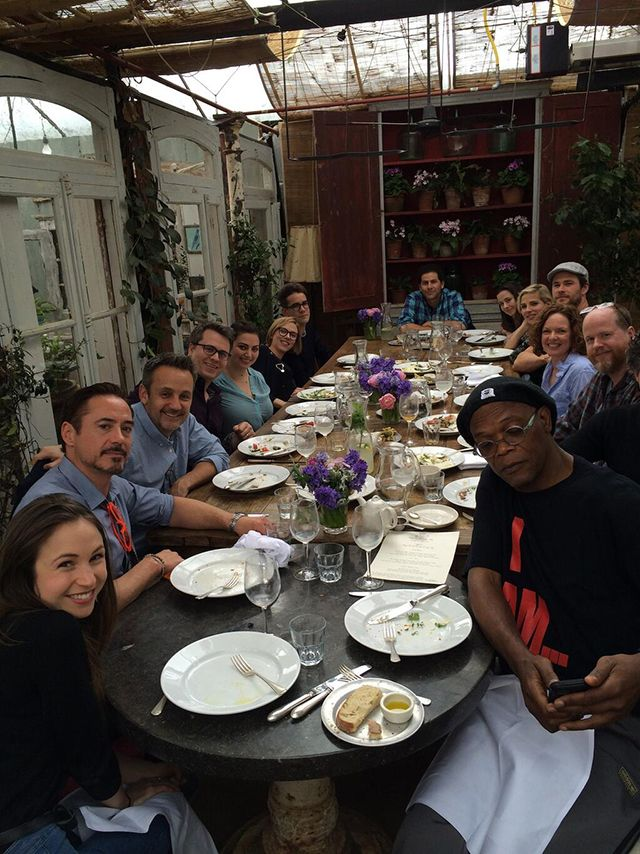 Robert Downey Jr. Shares a Photo of the 'Avengers: Age Of Ultron' Cast and Crew Dining at a Restaurant