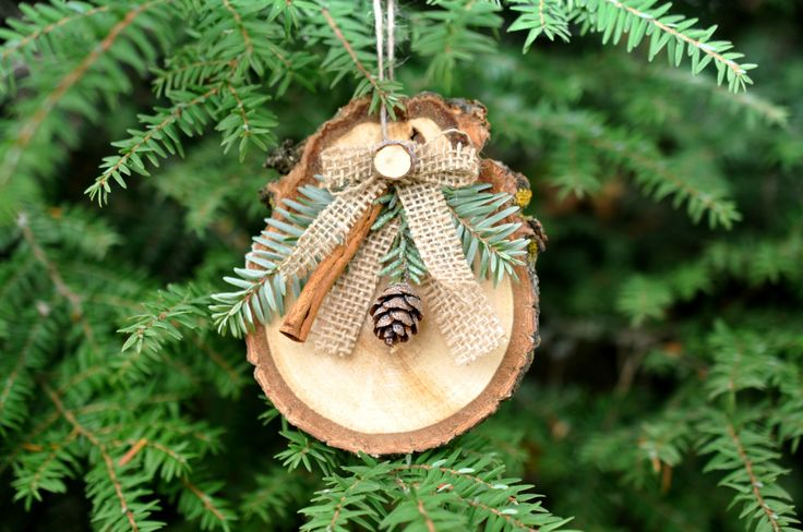 handmade rustic christmas ornaments set of 6, rustic burlap christmas tree ornament, pine cone ornament, christmas tree decorations by Elevatedpartysupply on Etsy