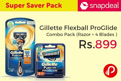 Snapdeal brings Super Save Pack of Gillette Flexball ProGlide Combo Pack (FlexBall Razor + FlexBall 4 Blades ) at Rs.899. The Gillette Flexball Pro Glide Gift Pack is a great addition to your shaving accessories. This razor features a flexball handle design that enables the blades to pivot and respond to contours of your face for our best shave. It comes with 4 cartridges.   http://www.paisebachaoindia.com/gillette-flexball-proglide-combo-pack-razor-4-blades-at-rs-899-snapdeal/