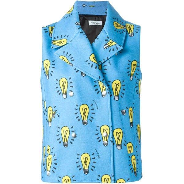 Au Jour Le Jour light bulb motif vest featuring polyvore, women's fashion, clothing, outerwear, vests, blue, vest waistcoat, blue waistcoat, au jour le jour and blue vest